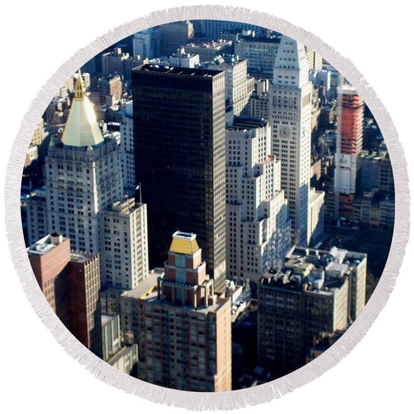 Nyc Round Beach Towel featuring the photograph Nyc 2 by Anita Burgermeister