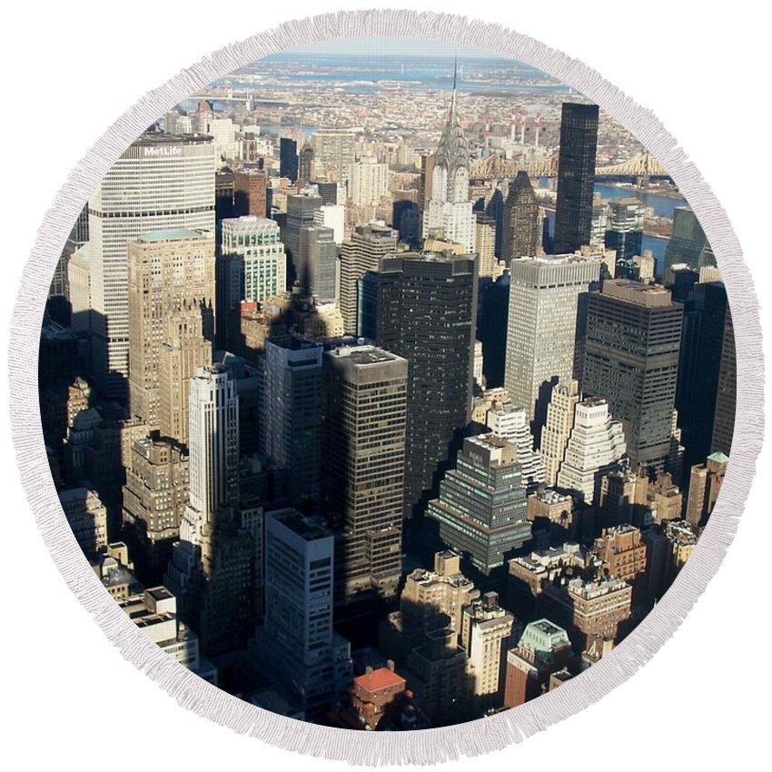 Nyc Round Beach Towel featuring the photograph Nyc 3 by Anita Burgermeister