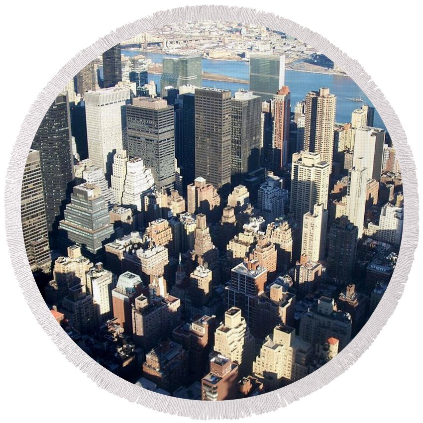 Nyc Round Beach Towel featuring the photograph Nyc 4 by Anita Burgermeister