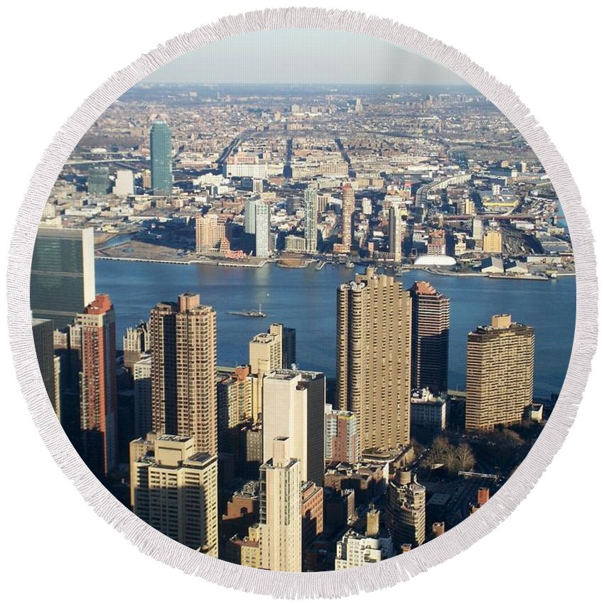 Nyc Round Beach Towel featuring the photograph Nyc 6 by Anita Burgermeister