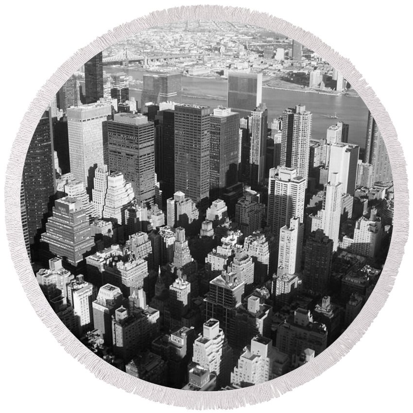 Nyc Round Beach Towel featuring the photograph Nyc Bw by Anita Burgermeister