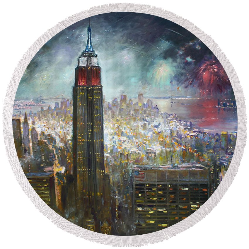 Landscape Round Beach Towel featuring the painting Nyc. Empire State Building by Ylli Haruni