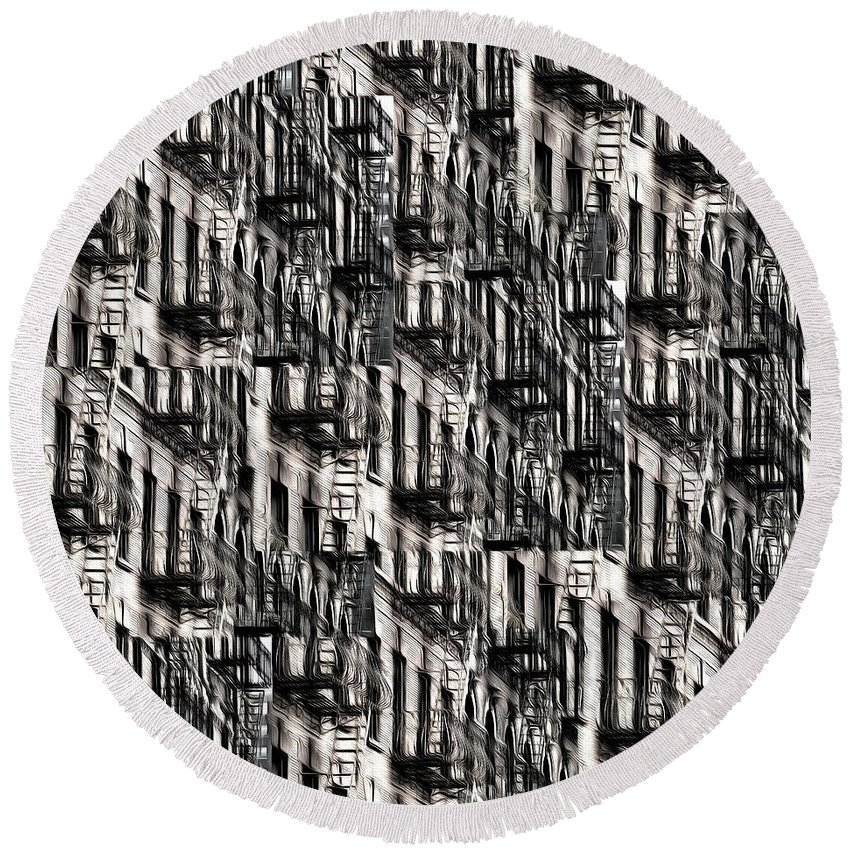 Building Round Beach Towel featuring the photograph Nyc Fire Escapes by Edward Fielding