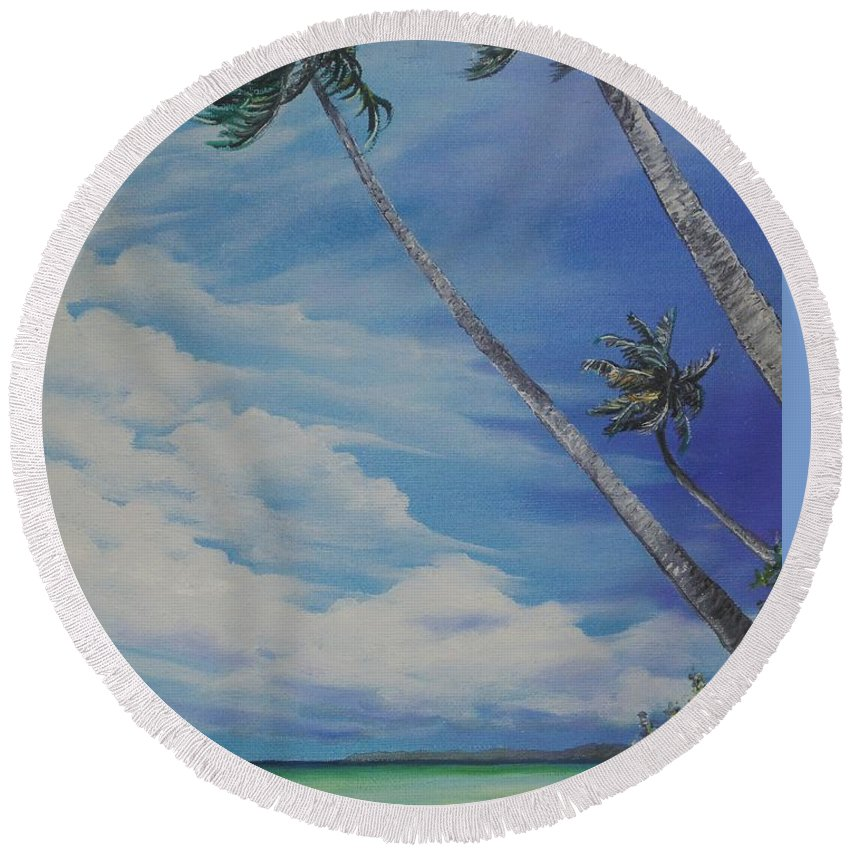 Ocean Painting Seascape Painting Beach Painting Palm Tree Painting Clouds Painting Tobago Painting Caribbean Painting Sea Beach T Obago Palm Trees Round Beach Towel featuring the painting Nylon Pool Tobago. by Karin Dawn Kelshall- Best