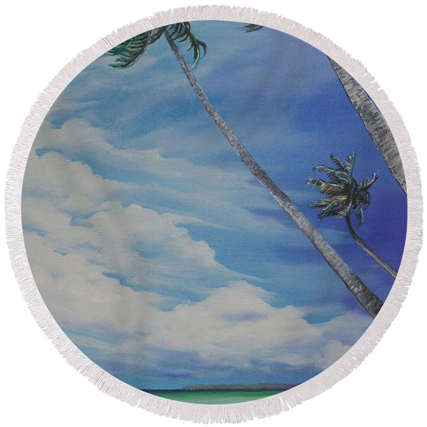 Trinidad And Tobago Seascape Round Beach Towel featuring the painting Nylon Pool Tobago. by Karin Dawn Kelshall- Best
