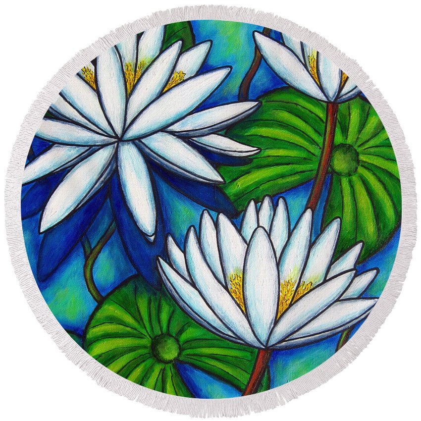 Lily Round Beach Towel featuring the painting Nymphaea Blue by Lisa Lorenz