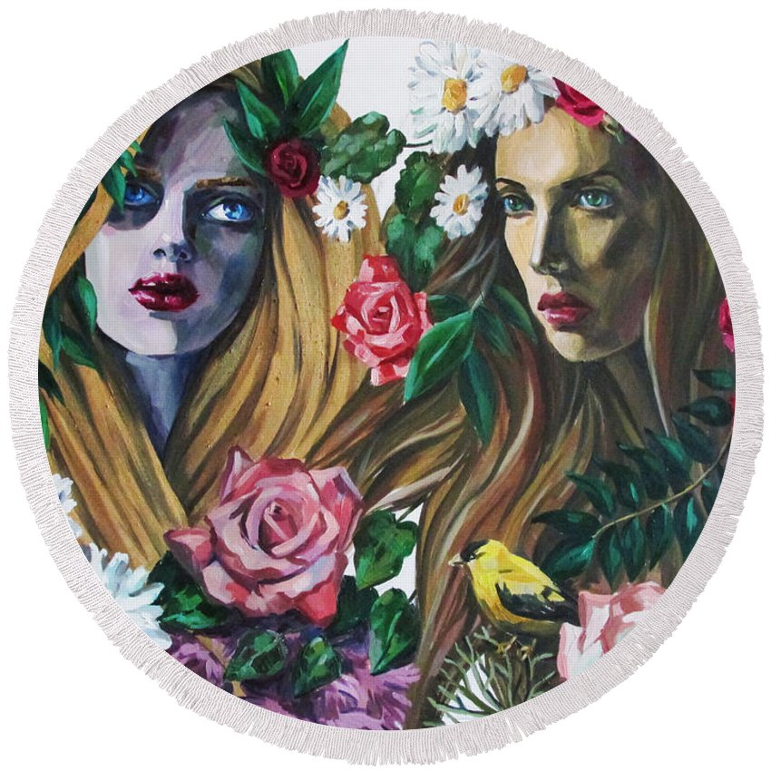 Woman Round Beach Towel featuring the painting Nymphes by Kateryna Bortsova