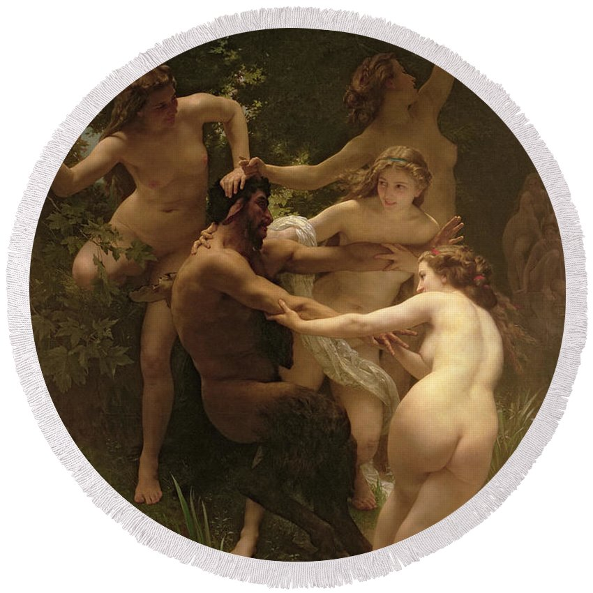 Nymphs And Satyr Round Beach Towel featuring the painting Nymphs And Satyr by William Adolphe Bouguereau