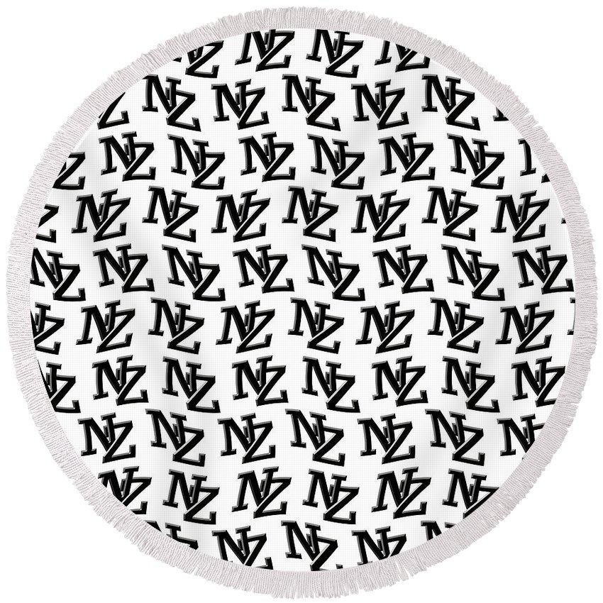 New Zealand Round Beach Towel featuring the digital art Nz New Zealand Black On White by Richard Wareham