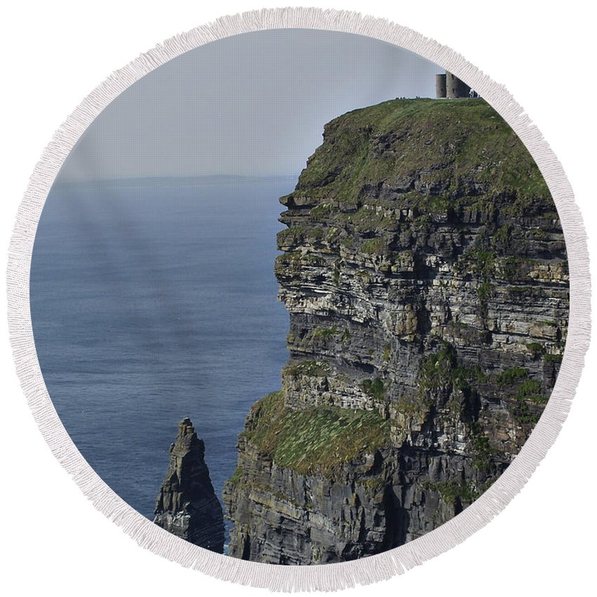 Irish Round Beach Towel featuring the photograph O Brien's Tower At The Cliffs Of Moher Ireland by Teresa Mucha