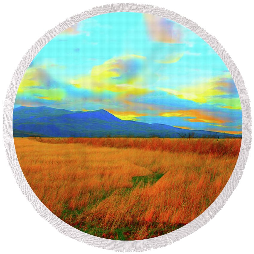 Sky Round Beach Towel featuring the photograph O Prairie Mother by Stephen Edwards
