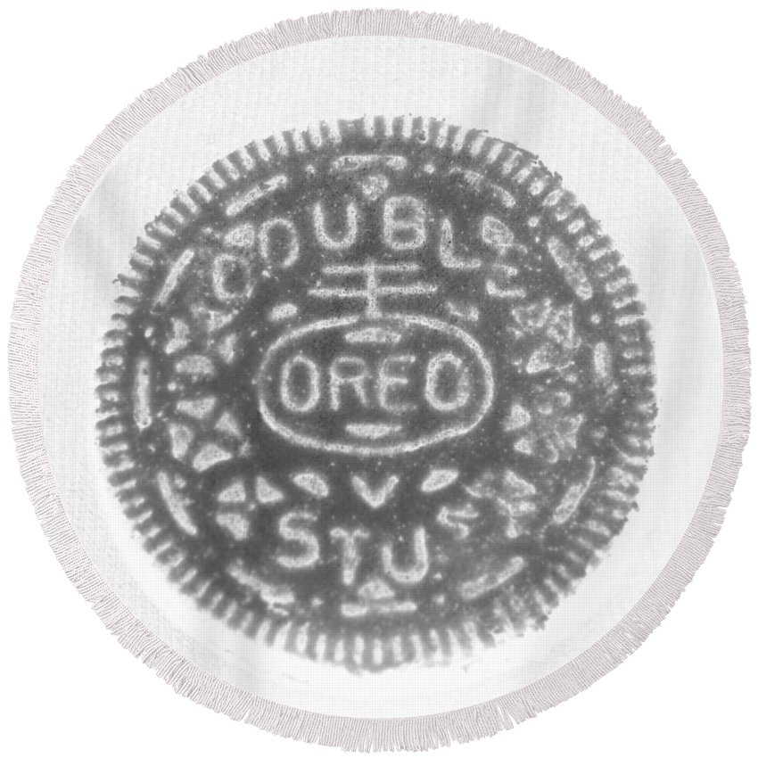 Oreo Round Beach Towel featuring the photograph O R E O In Black Negative by Rob Hans