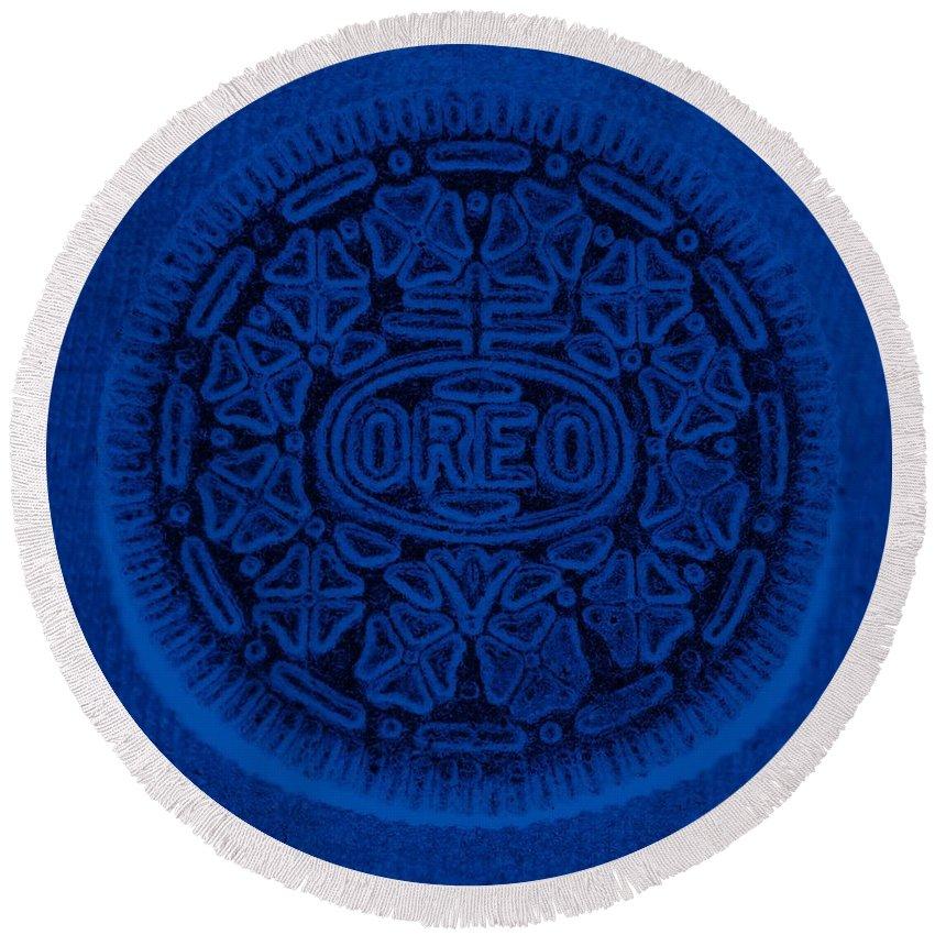 Oreo Round Beach Towel featuring the photograph O R E O In Blue by Rob Hans