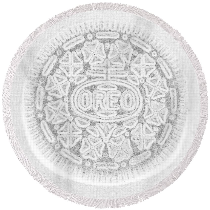 Oreo Round Beach Towel featuring the photograph O R E O In White by Rob Hans