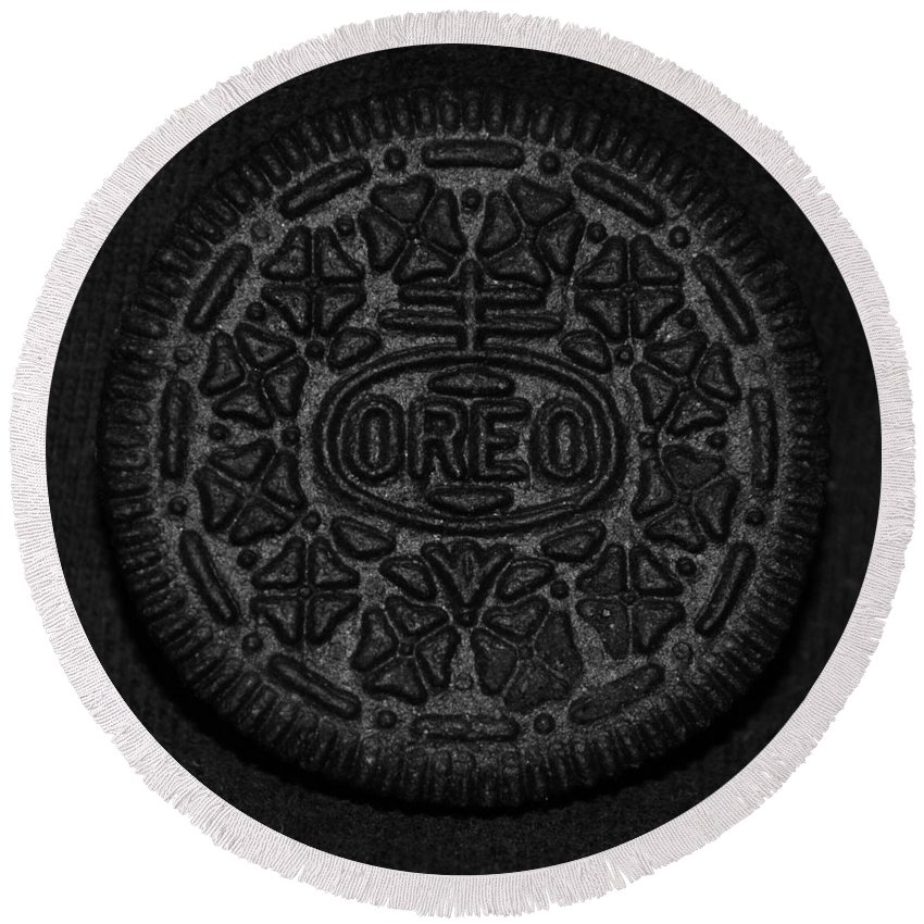 Oreo Round Beach Towel featuring the photograph O R E O by Rob Hans