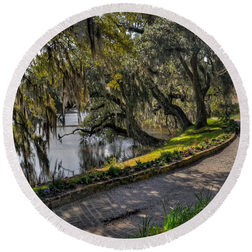 River Round Beach Towel featuring the photograph Oak And River Path by Aaron Shortt
