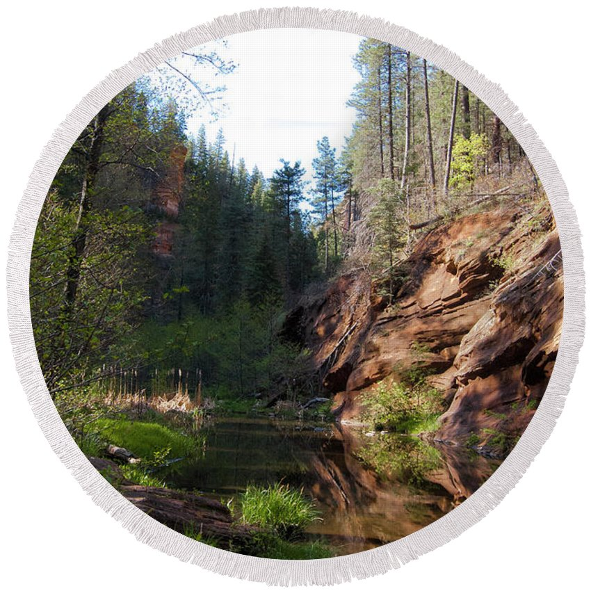 Arizona Round Beach Towel featuring the photograph Oak Creek by Dusty Conley