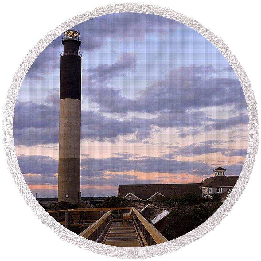 Art Round Beach Towel featuring the photograph Oak Island Lighthouse by Shelia Kempf