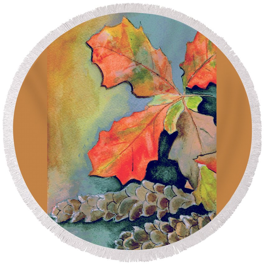 Watercolor Round Beach Towel featuring the painting Oak Leaves And Pinecones by Brenda Owen