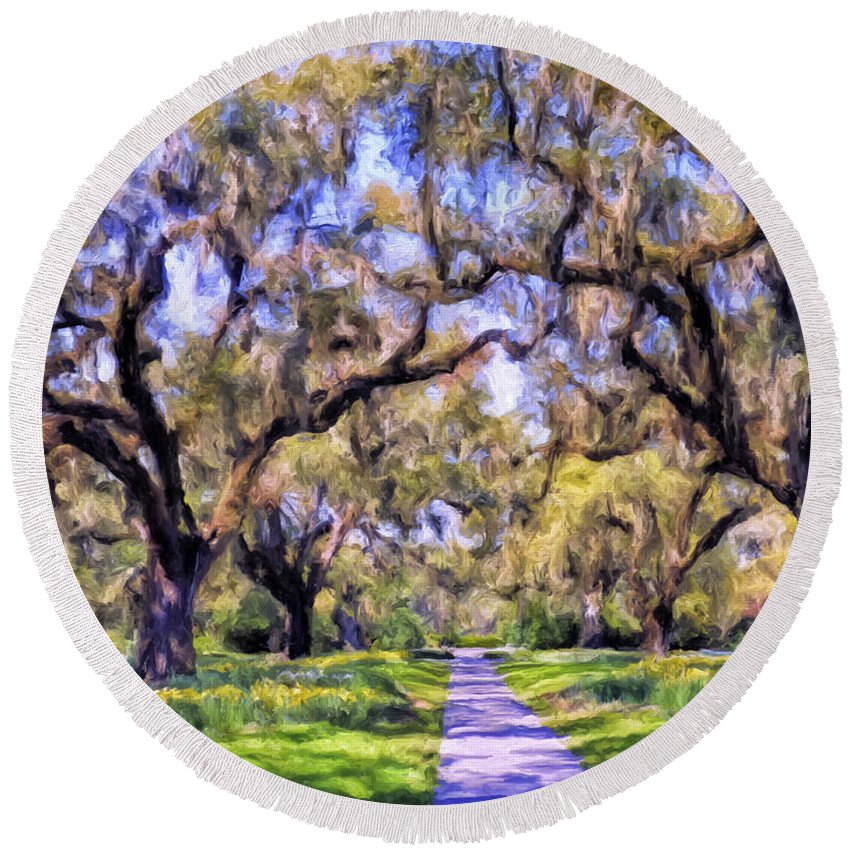 Oaks Round Beach Towel featuring the painting Oaks And Spanish Moss by Dominic Piperata