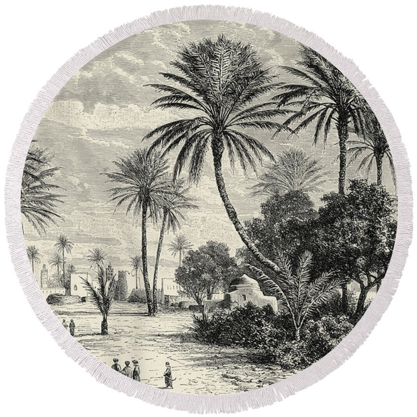Oasis Of Gafsa Round Beach Towel featuring the drawing Oasis Of Gafsa Tunis by Charles Brabant