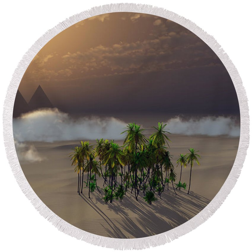 Deserts Round Beach Towel featuring the digital art Oasis by Richard Rizzo