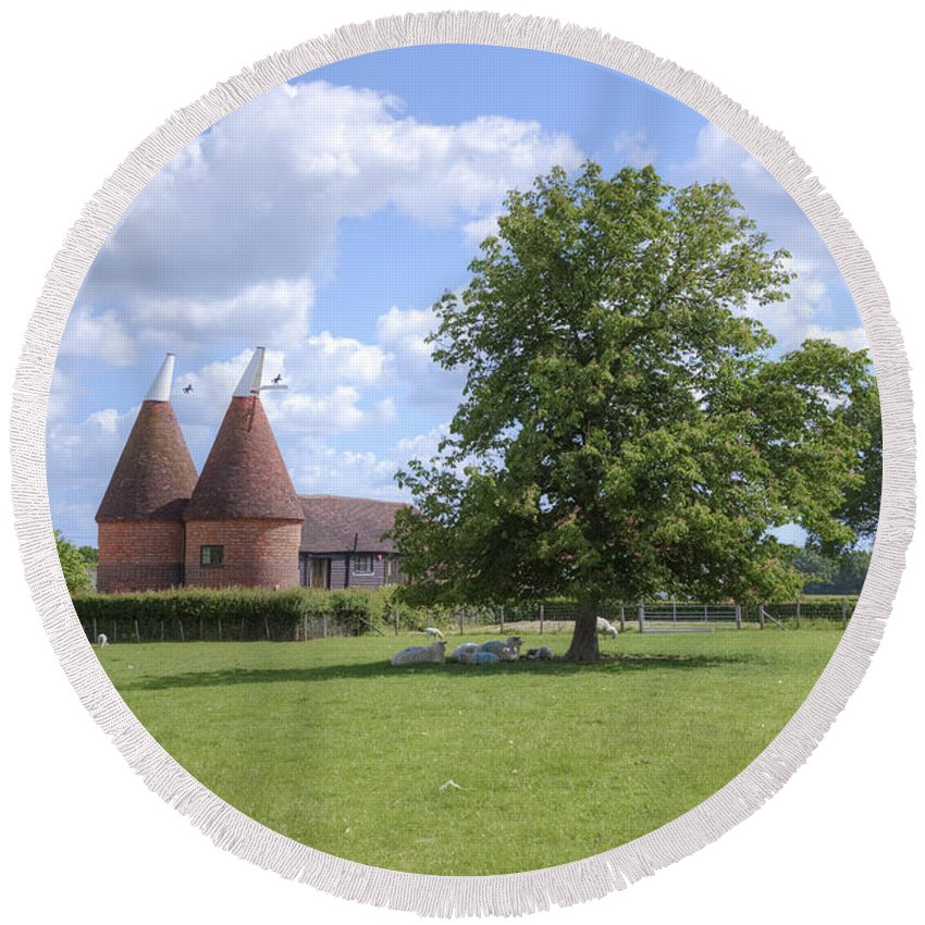 Oast House Round Beach Towel featuring the photograph Oast House In Kent - England by Joana Kruse