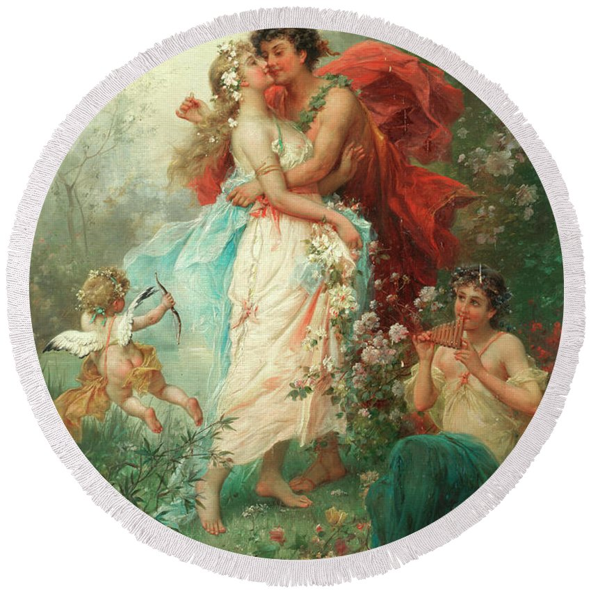 Oath Of Love Round Beach Towel featuring the painting Oath Of Love by Hans Zatzka