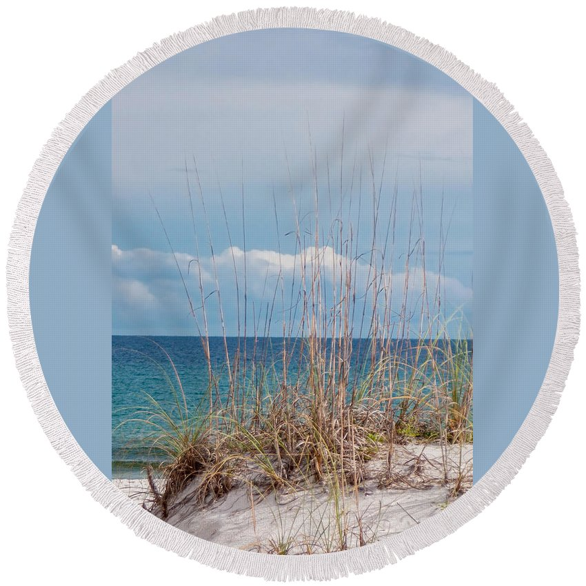 Oats On The Sand Round Beach Towel featuring the photograph Oats On The Sand by Mechala Matthews