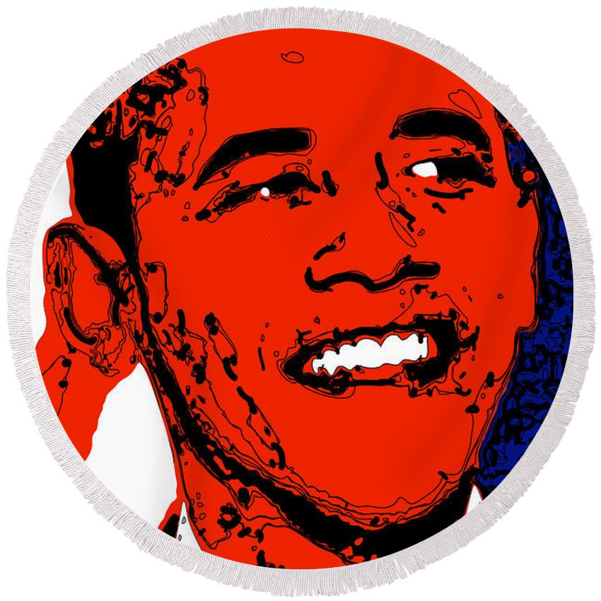 African Round Beach Towel featuring the digital art Obama Hope by Rabi Khan