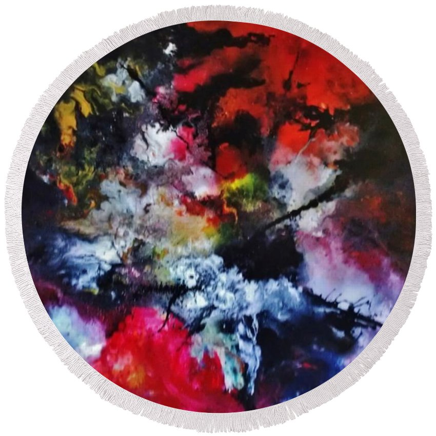 Acrylic Round Beach Towel featuring the painting Objectivity by John Cocoris