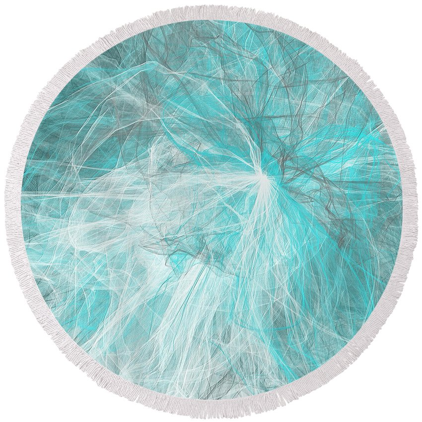 Turquoise Round Beach Towel featuring the painting Oblivion by Lourry Legarde