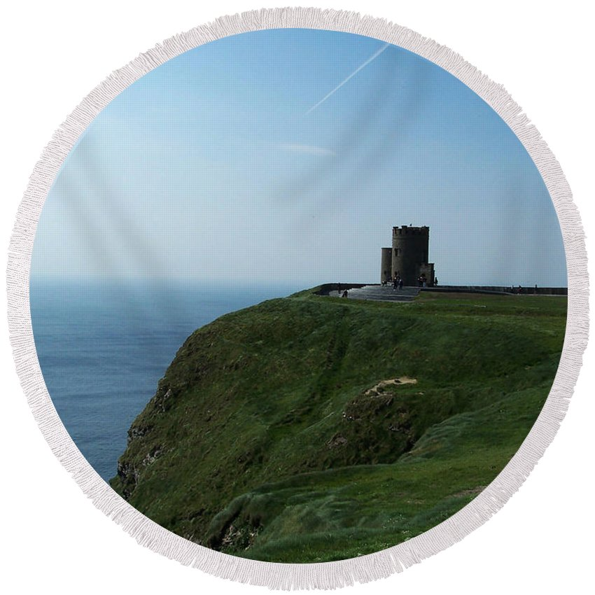 Irish Round Beach Towel featuring the photograph O'brien's Tower At The Cliffs Of Moher Ireland by Teresa Mucha