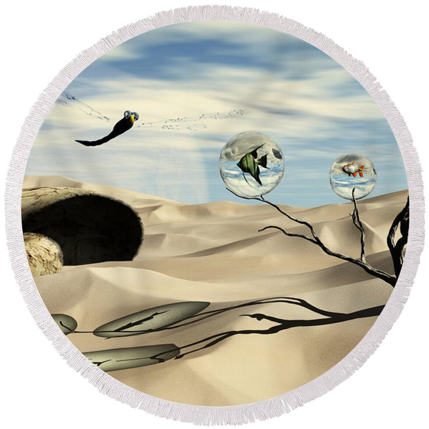 Surrealism Round Beach Towel featuring the digital art Observations by Richard Rizzo