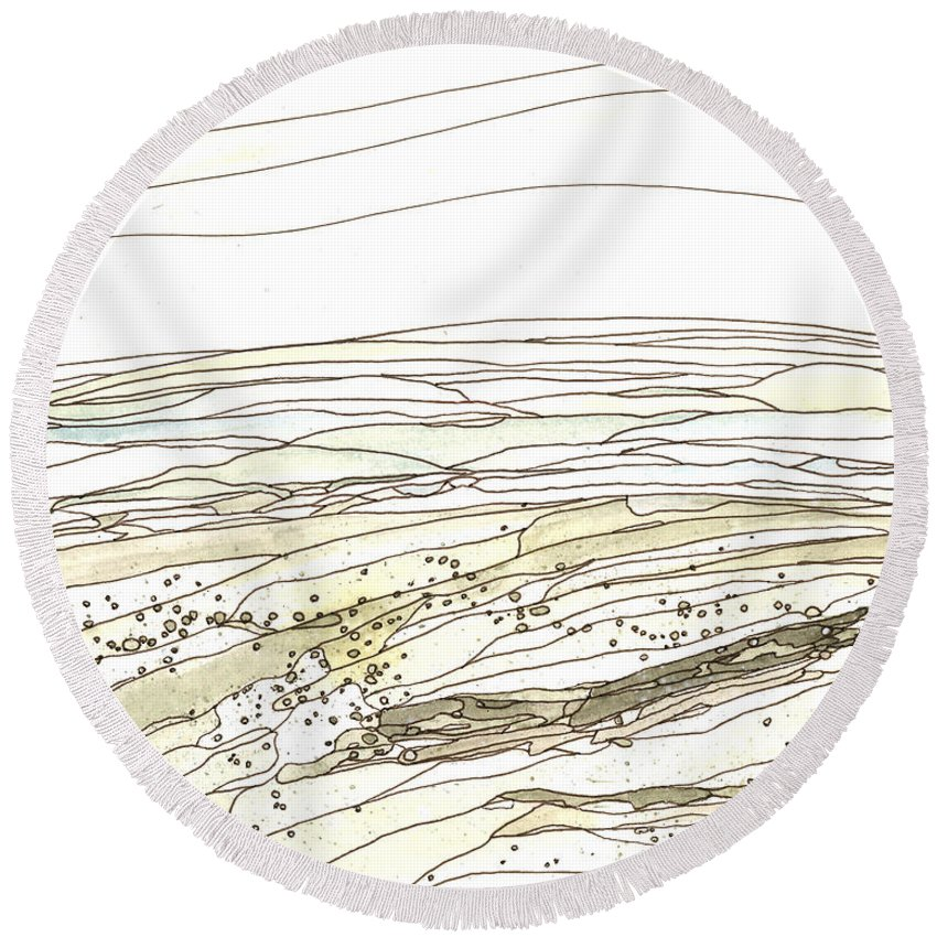 Beauty Round Beach Towel featuring the painting Ocean 15 by Katie Ree