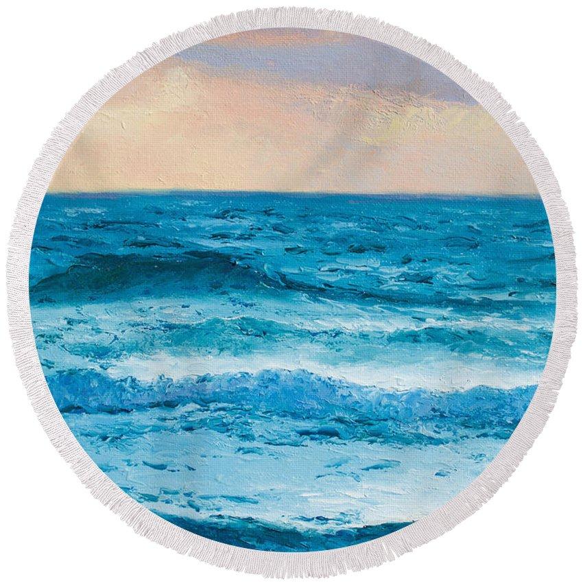 Ocean Round Beach Towel featuring the painting Ocean Art 1 by Jan Matson