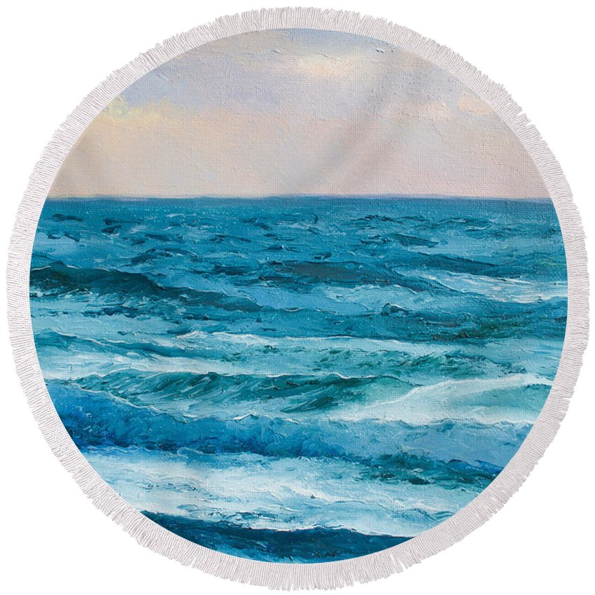 Ocean Round Beach Towel featuring the painting Ocean Art 2 by Jan Matson