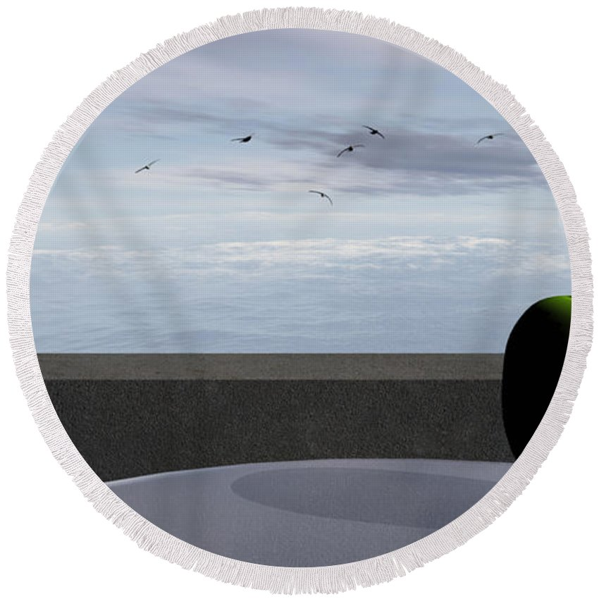 Modern Round Beach Towel featuring the digital art Ocean Balcony by Richard Rizzo