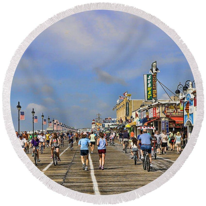 Ocean City N J Boardwalk Round Beach Towel