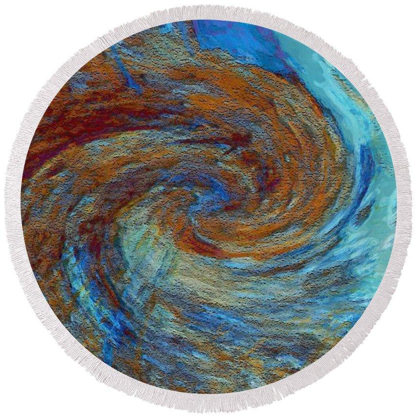 Hurricane Round Beach Towel featuring the digital art Ocean Colors by Linda Sannuti