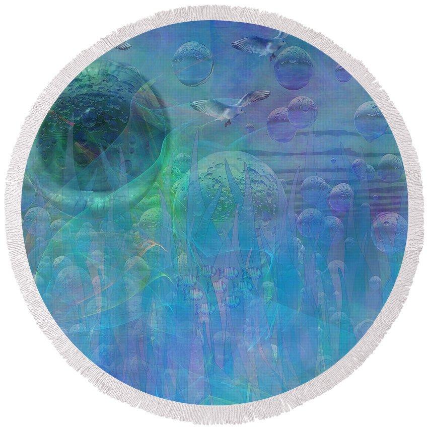 Ocean Round Beach Towel featuring the digital art Ocean Dreams by Diane Parnell