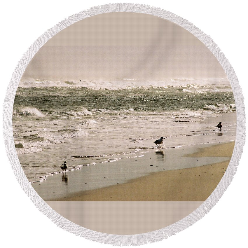 Seascape Round Beach Towel featuring the photograph Ocean Edge by Steve Karol