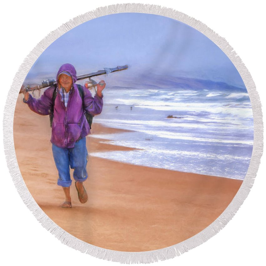 Fisherman Round Beach Towel featuring the photograph Ocean Fisherman by Nikolyn McDonald