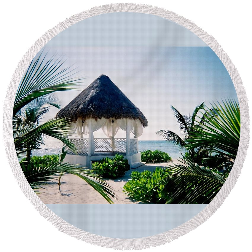 Resort Round Beach Towel featuring the photograph Ocean Gazebo by Anita Burgermeister