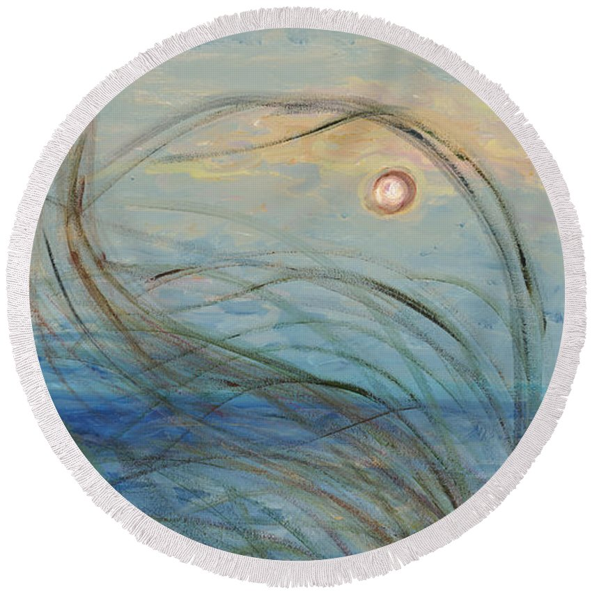 Sunrise Round Beach Towel featuring the painting Ocean Grasses In The Wind by Nadine Rippelmeyer