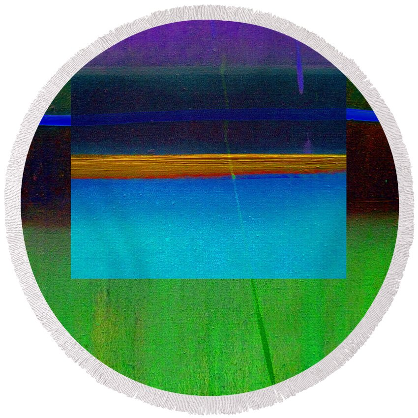 Landscape Round Beach Towel featuring the painting Ocean Light by Charles Stuart