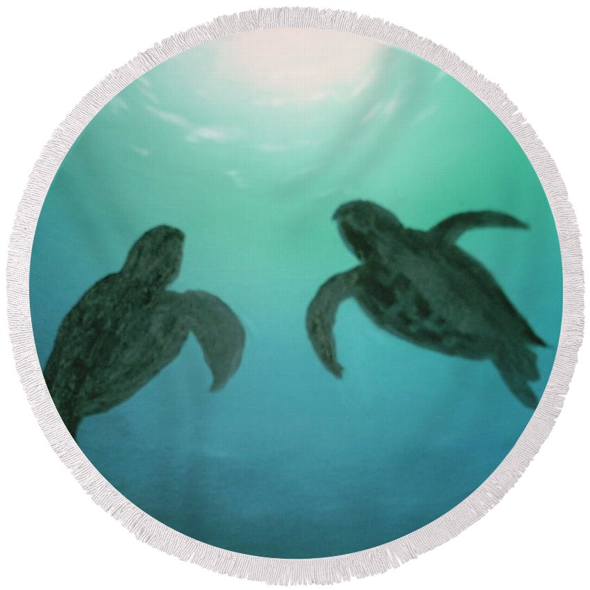 Turtles Acending Into The Surface Light From The Ocean Deep. Round Beach Towel featuring the painting Ocean Light by Jim Saltis
