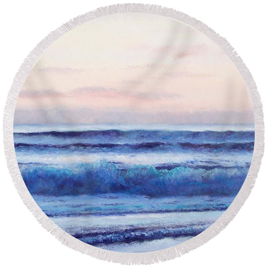 Ocean Round Beach Towel featuring the painting Ocean Painting 'dusk' By Jan Matson by Jan Matson