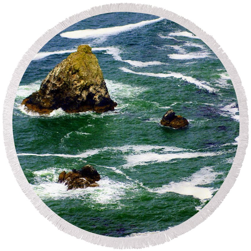 Ocean Round Beach Towel featuring the photograph Ocean Rock by Marty Koch