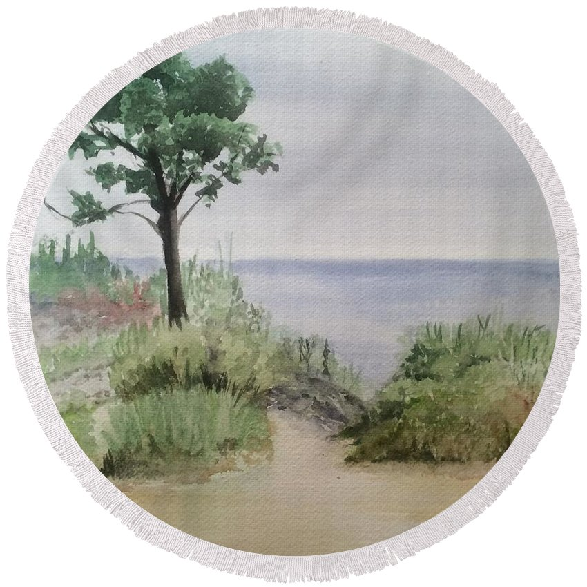 Watercolor Round Beach Towel featuring the painting Ocean Scene by Katherine Berlin